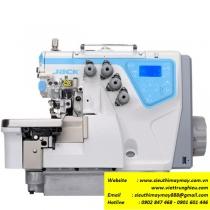 C4-4-M03-333-SD máy vắt sổ Jack ,máy vắt sổ 2 kim 4 chỉ điện tử cắt chỉ bằng điện ,nâng chân vịt tự động ,khoảng cách kim 2mm bờ vắt sổ 4mm