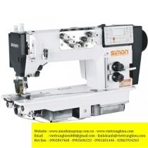 SM-322 máy móc xích Simon ,máy 2 kim móc xích điện tử cắt chỉ tự động ,có trợ lực ,motor liền trục