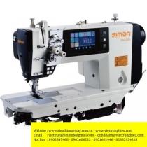 SM-245 máy 2 kim Simon ,máy 2 kim di động ổ nhỏ điện tử dầu khô ,nâng chân vịt,màn hình chạm LCD,điều khiển cầu cưa bằng motor servo ,may hàng trung bình mỏng