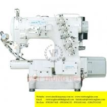 JK-8670BD-I-01CBx356 máy viền Jack ,máy viền ống bo tay 3 kim đánh bông motor liền trục