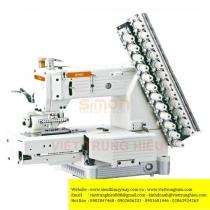 SM-4412P máy nhiều kim Simon ,máy 12 kim may móc xích ,sử dụng motor điện tử tiết kiệm điện