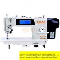 SM-520B-D4 máy may Simon ,máy 1 kim ổ lớn điện tử thế hệ thứ 2 gồm dao vòng cắt chỉ dưới ,bộ kẹp chỉ trên ,màn hình IPHONE cảm ứng ,đèn LED ,nút bù mũi may ,bộ nâng chân vịt ,chiều dài mũi may 7mm ,may hàng dày
