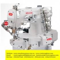 BRC-264BD-II-01CB-UT máy viền Bruce ,máy trần viền 3 kim đánh bông điện tử đầu ống bo tay 180mm ,cắt chỉ điện và nâng chân vịt tự động ,cự ly kim 5.6mm hoặc 6.4mm