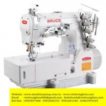 BRC-562AD-I-01GB máy viền Bruce ,máy trần viền 3 kim đánh bông đầu bằng ,motor liền trục tiết kiệm điện ,cự ly kim 5.6mm hoặc 6.4mm