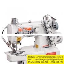 C007KD-W122-356-CH-UTP máy viền Siruba ,máy viền ống đánh bông 3 kim 5 chỉ ,đường kính 280mm ,motor điện tử liền trục cắt chỉ ,nâng chân vịt tự động