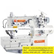 F007KD-W122-364-FHA-UTG máy viền Siruba ,máy viền bằng đánh bông 3 kim 5 chỉ ,motor điện tử liền trục cắt chỉ nâng chân vịt tự động