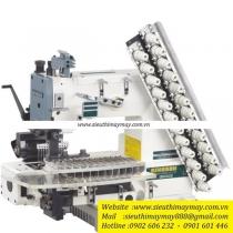 QB008-12064P-VPT máy nhiều kim Qingben ,máy 12 kim ,khoảng cách kim 6.4mm có bộ cữ may xếp ly