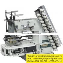 QB008-12048P-VSQ-VSM máy nhiều kim Qingben ,máy 12 kim ,khoảng cách mỗi kim 4.8mm ,kèm bộ căng chỉ thun và bộ đánh bông trang trí