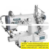 S007KD-W122-356-PCH-3M-UTT máy viền Siruba ,máy viền ống bo tay đánh bông 3 kim 5 chỉ ,đường kính 190mm ,motor liền trục cắt chỉ nâng chân vịt tự động