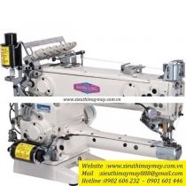 SL2800-356-EST máy viền Shing Ling ,máy viền đầu heo điện tử cắt chỉ điện nâng chân vịt tự động ,thân dài 42cm