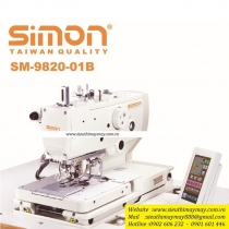 SM-9820-01B máy khuy Simon ,máy khuy mắt phụng điện tử cắt chỉ dài với 1 dao