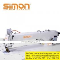 SM-9956-D4-APL máy may Simon ,máy 1 kim điện tử  thân dài nâng chân vịt ,mặt bàn có hơi thổi có trợ lực dùng hơi ,khu vực làm việc dài 56 cm