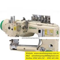 YC-62D-452-01-AT-SC1-MD máy 4 kim 6 chỉ Isamu ,máy cuốn đáy điện tử ,dao xén 1 bên ,cự ly 5.2mm ,motor liền trục ,nâng chân vịt và bộ hút rác bằng hơi và hộp điều khiển Ho-Hsing ,100% sản xuất tại Đài Loan