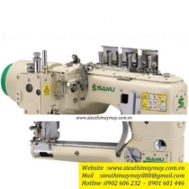 YC-62D-452-12-AT-SC1-MD máy 4 kim 6 chỉ Isamu ,máy cuốn đáy điện tử ,dao xén 2 bên ,cự ly 5.2mm ,motor liền trục ,nâng chân vịt và bộ hút rác bằng hơi và hộp điều khiển Ho-Hsing ,100% sản xuất tại Đài Loan