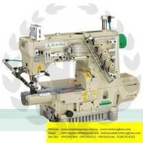 YE-2711-356-AUT  máy viền Isamu ,máy viền ống bo tay điện tử ,đường kính ống 189mm, cắt chỉ bằng hơi ,gồm dao cắt chỉ dưới ,dao cắt chỉ trên ,bộ nâng chân vịt ,motor và hộp điều khiển Ho-Hsing  ,cự ly 5.6mm ,100% sản xuất tại Đài Loan