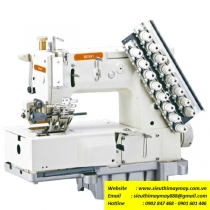 SM-1408PL máy nhiều kim Simon ,máy 8 kim may móc xích chuyên dùng may 3 sọc Adidas ,motor điện tử tiết kiệm điện