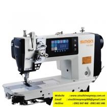 SM-275 máy 2 kim Simon ,máy 2 kim di động ổ lớn điện tử dầu khô ,nâng chân vịt,màn hình chạm LCD,điều khiển cầu cưa bằng motor servo ,may hàng dày