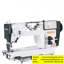 SM-333 máy móc xích Simon ,máy 3 kim móc xích điện tử cắt chỉ tự động ,có trợ lực ,motor liền trục